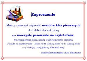 zaproszenie na pasowanie na czytelnika